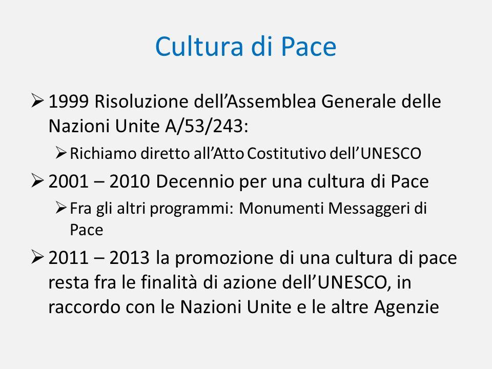 Cultura di Pace 1999 Risoluzione dellAssemblea Generale delle Nazioni Unite A/53/243: Richiamo diretto allAtto Costitutivo dellUNESCO 2001 – 2010 Dece