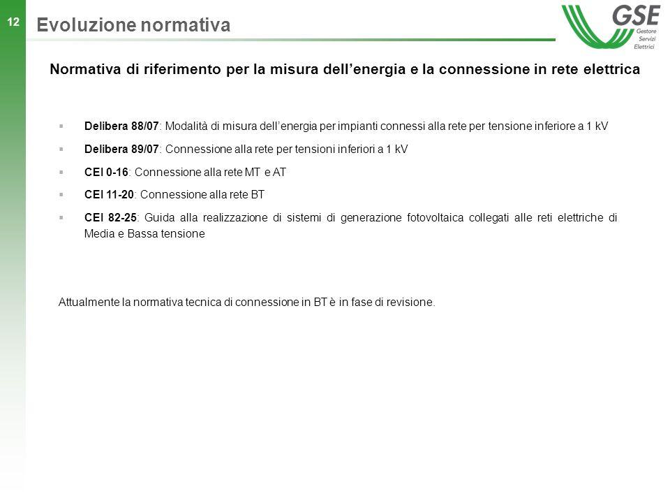 12 Normativa di riferimento per la misura dellenergia e la connessione in rete elettrica Delibera 88/07: Modalità di misura dellenergia per impianti c