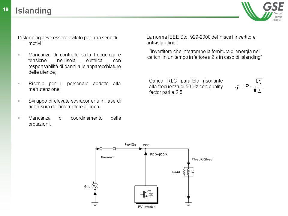 19 Lislanding deve essere evitato per una serie di motivi: Mancanza di controllo sulla frequenza e tensione nellisola elettrica con responsabilità di