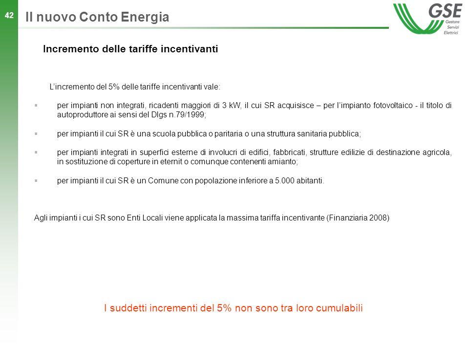 42 Incremento delle tariffe incentivanti Lincremento del 5% delle tariffe incentivanti vale: per impianti non integrati, ricadenti maggiori di 3 kW, i