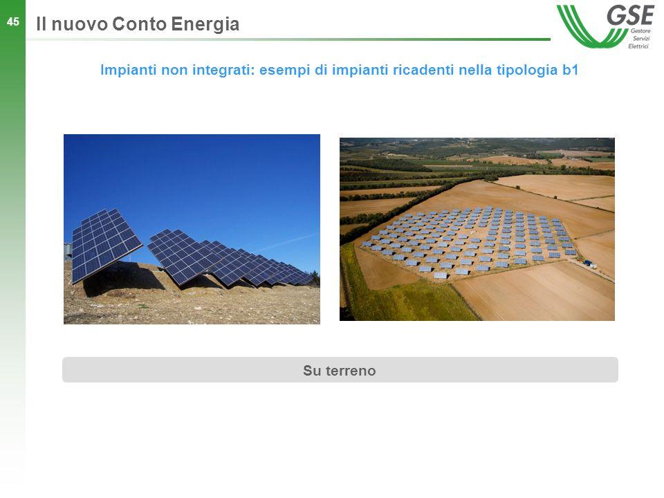45 Impianti non integrati: esempi di impianti ricadenti nella tipologia b1 Il nuovo Conto Energia Su terreno