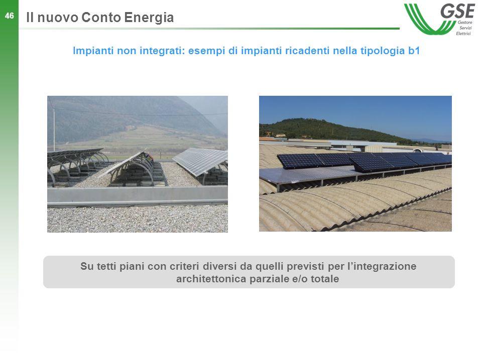 46 Impianti non integrati: esempi di impianti ricadenti nella tipologia b1 Il nuovo Conto Energia Su tetti piani con criteri diversi da quelli previst