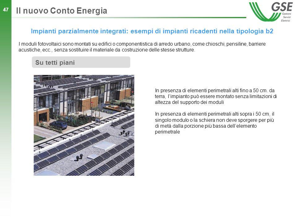 47 Impianti parzialmente integrati: esempi di impianti ricadenti nella tipologia b2 Il nuovo Conto Energia Su tetti piani I moduli fotovoltaici sono m