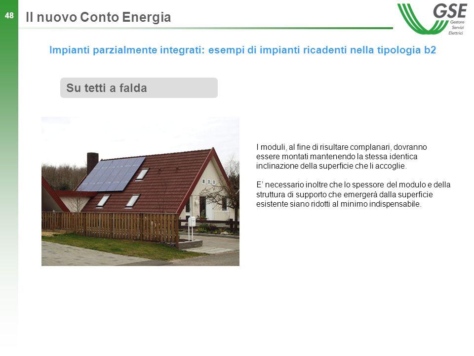 48 Impianti parzialmente integrati: esempi di impianti ricadenti nella tipologia b2 Il nuovo Conto Energia Su tetti a falda I moduli, al fine di risul