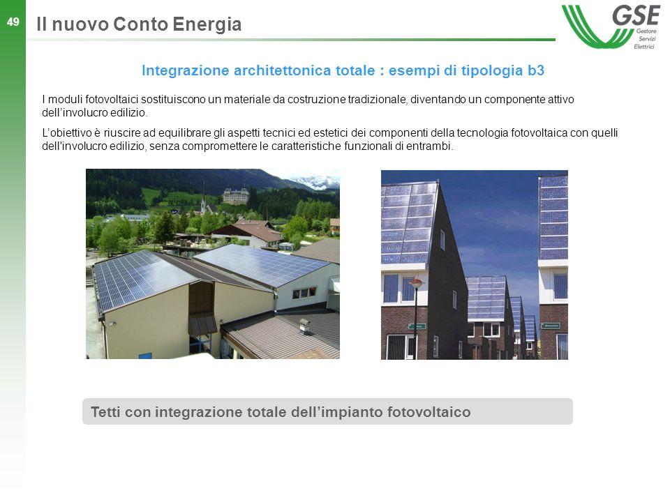 49 Integrazione architettonica totale : esempi di tipologia b3 Il nuovo Conto Energia Tetti con integrazione totale dellimpianto fotovoltaico I moduli