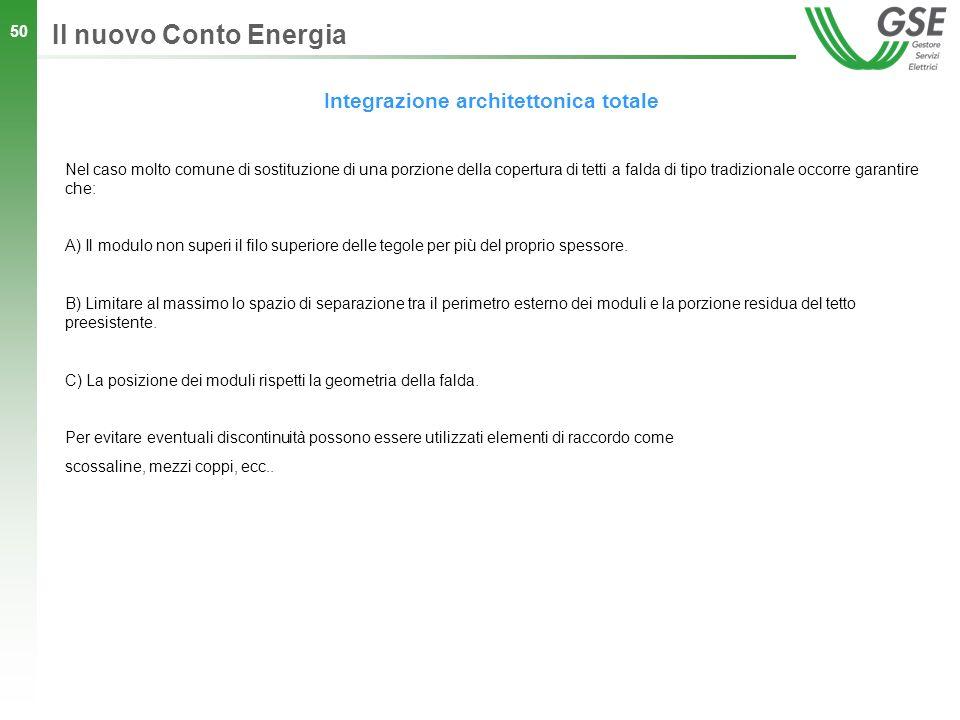 50 Integrazione architettonica totale Il nuovo Conto Energia Nel caso molto comune di sostituzione di una porzione della copertura di tetti a falda di