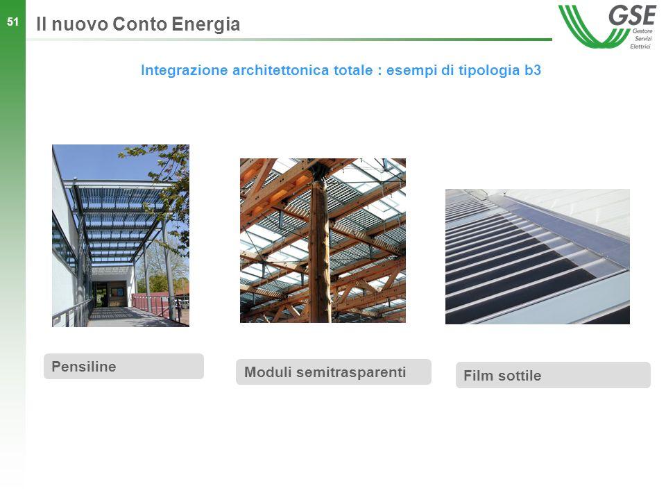 51 Integrazione architettonica totale : esempi di tipologia b3 Il nuovo Conto Energia Pensiline Moduli semitrasparenti Film sottile