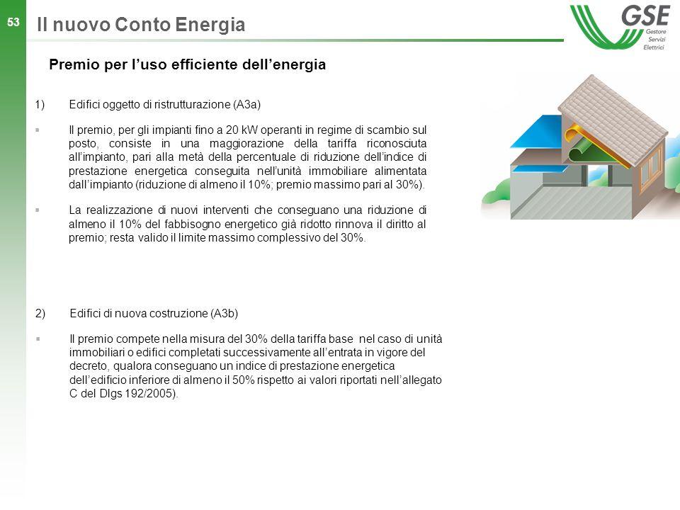 53 1)Edifici oggetto di ristrutturazione (A3a) Il premio, per gli impianti fino a 20 kW operanti in regime di scambio sul posto, consiste in una maggi