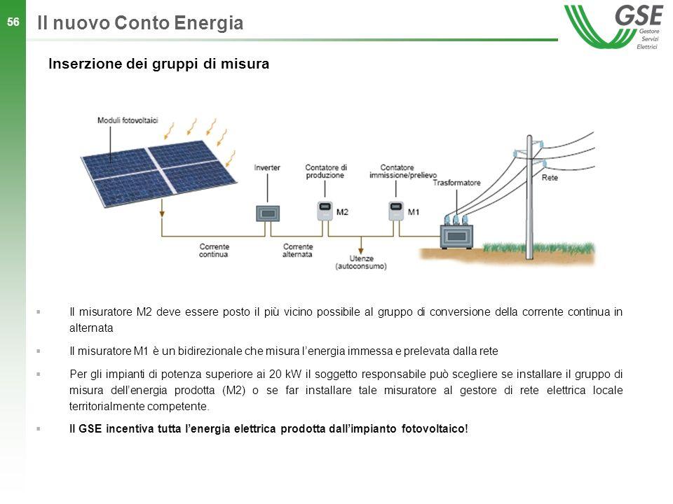 56 Il nuovo Conto Energia Inserzione dei gruppi di misura Il misuratore M2 deve essere posto il più vicino possibile al gruppo di conversione della co