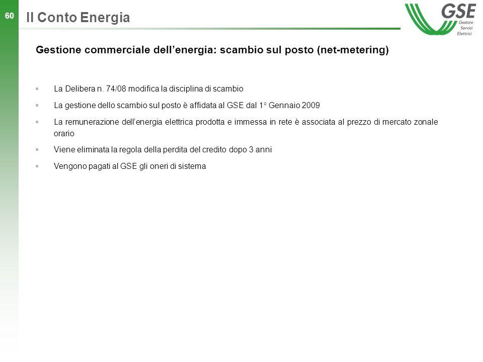 60 Gestione commerciale dellenergia: scambio sul posto (net-metering) Il Conto Energia La Delibera n. 74/08 modifica la disciplina di scambio La gesti