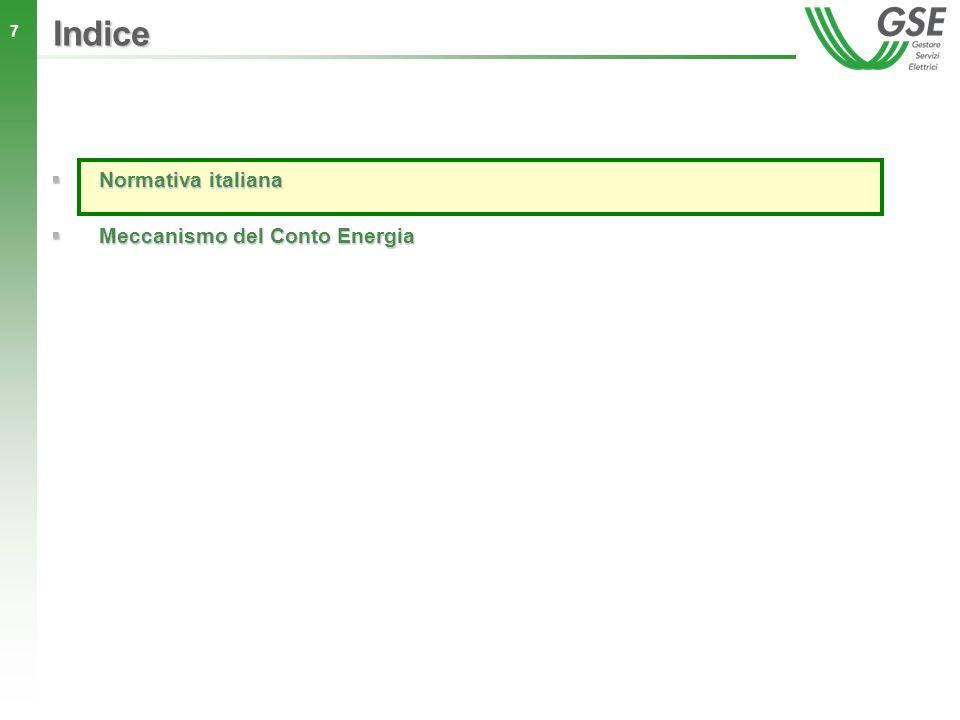 38 Indice Normativa italiana Normativa italiana Meccanismo del conto energia Meccanismo del conto energia