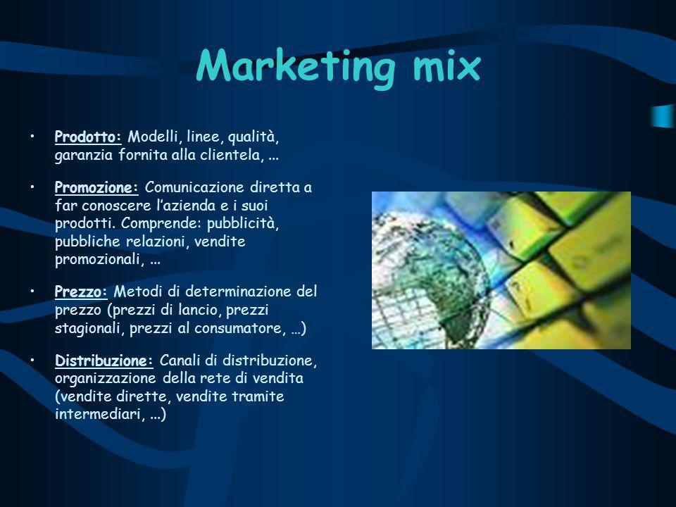 Marketing mix Prodotto: Modelli, linee, qualità, garanzia fornita alla clientela,...