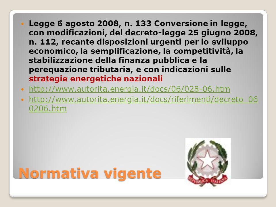 Normativa vigente Legge 6 agosto 2008, n. 133 Conversione in legge, con modificazioni, del decreto-legge 25 giugno 2008, n. 112, recante disposizioni