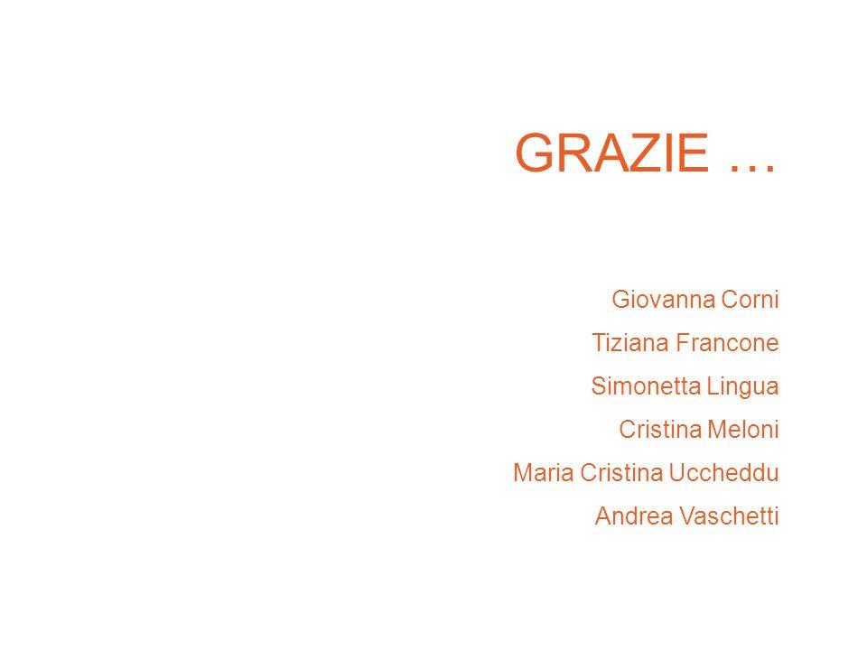 GRAZIE … Giovanna Corni Tiziana Francone Simonetta Lingua Cristina Meloni Maria Cristina Uccheddu Andrea Vaschetti