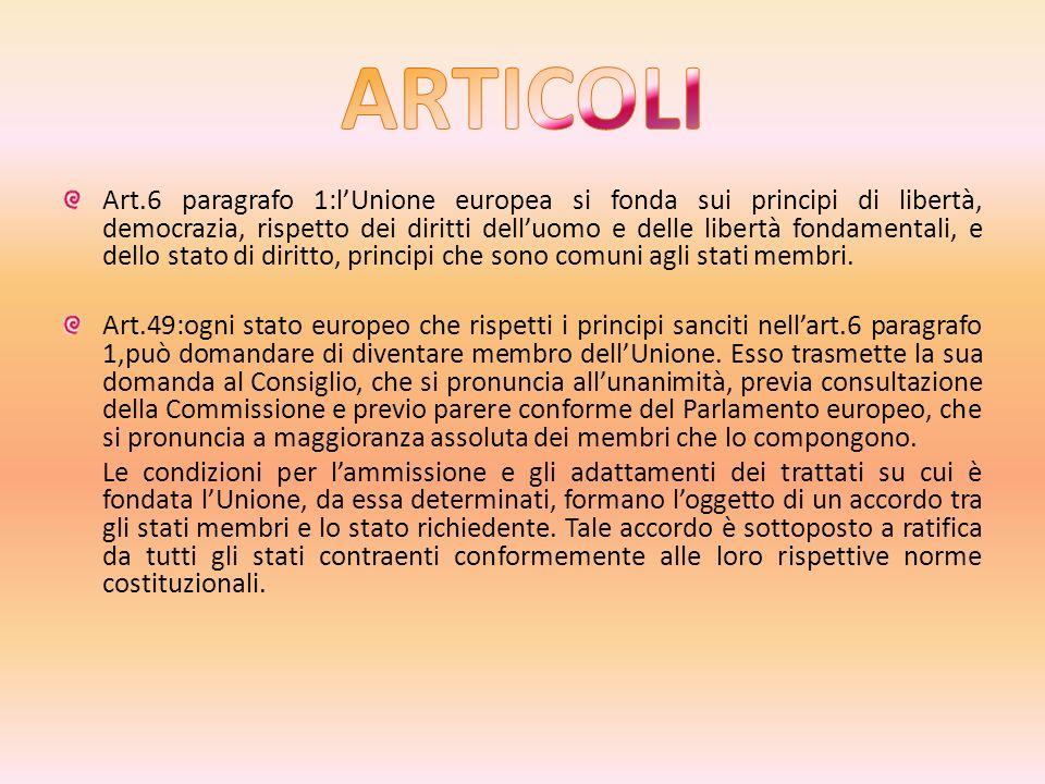Art.6 paragrafo 1:lUnione europea si fonda sui principi di libertà, democrazia, rispetto dei diritti delluomo e delle libertà fondamentali, e dello stato di diritto, principi che sono comuni agli stati membri.