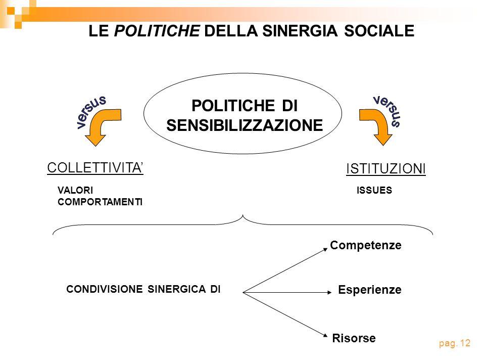 POLITICHE DI SENSIBILIZZAZIONE ISTITUZIONI COLLETTIVITA VALORI COMPORTAMENTI ISSUES LE POLITICHE DELLA SINERGIA SOCIALE CONDIVISIONE SINERGICA DI Competenze Esperienze Risorse pag.