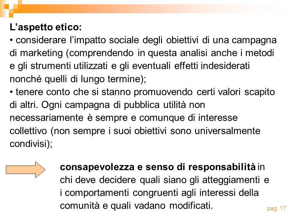 Laspetto etico: considerare limpatto sociale degli obiettivi di una campagna di marketing (comprendendo in questa analisi anche i metodi e gli strumen