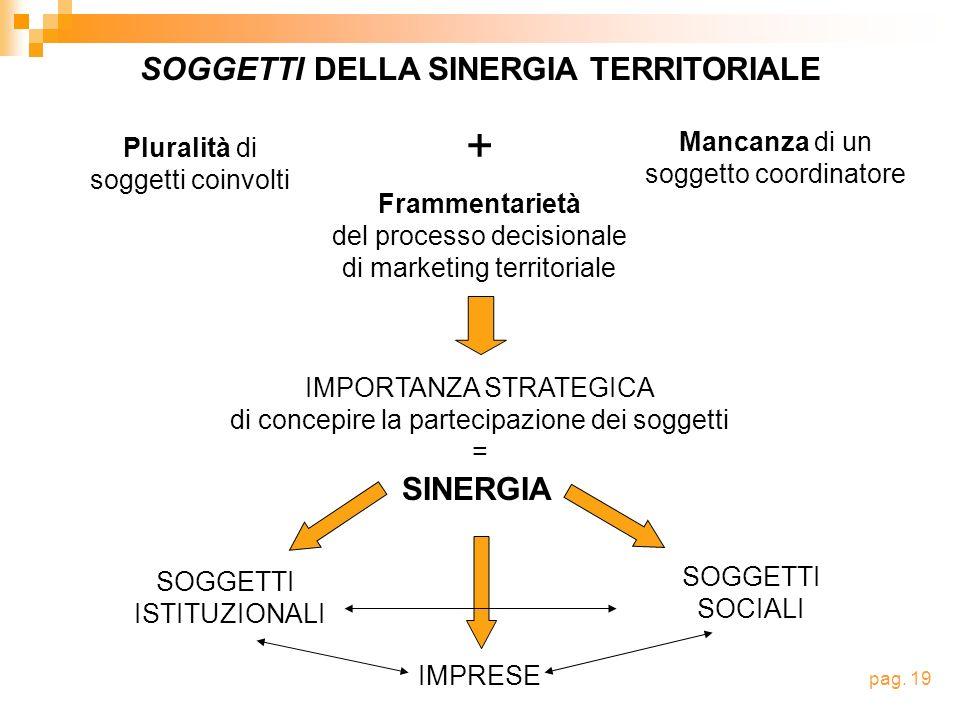 Pluralità di soggetti coinvolti Frammentarietà del processo decisionale di marketing territoriale + Mancanza di un soggetto coordinatore IMPORTANZA ST
