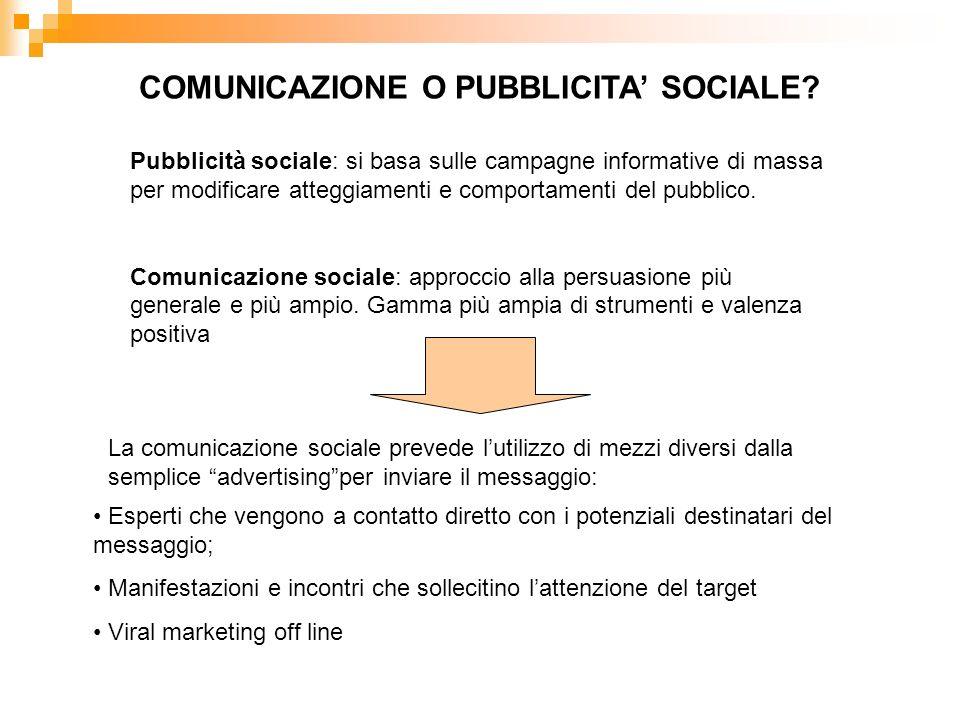 COMUNICAZIONE O PUBBLICITA SOCIALE? Pubblicità sociale: si basa sulle campagne informative di massa per modificare atteggiamenti e comportamenti del p