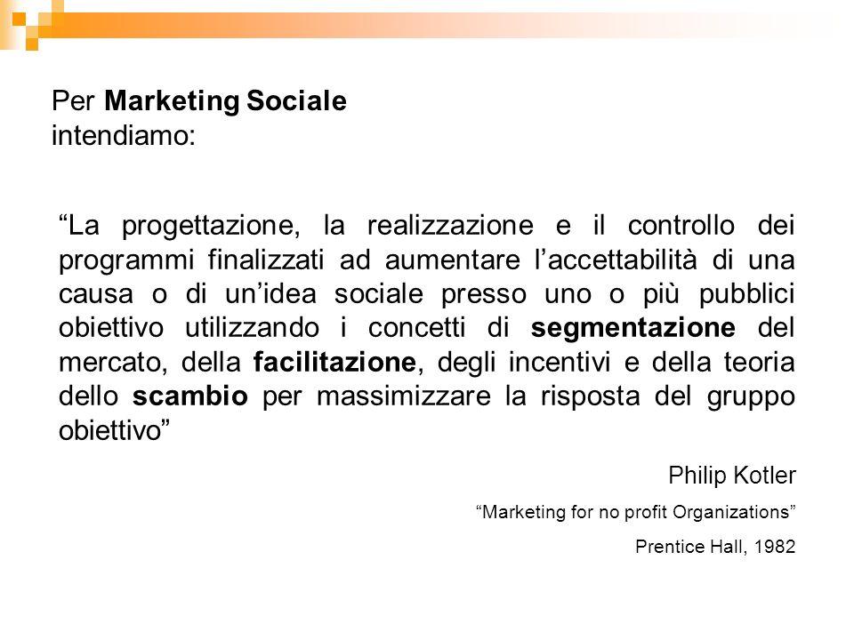 Per Marketing Sociale intendiamo: La progettazione, la realizzazione e il controllo dei programmi finalizzati ad aumentare laccettabilità di una causa