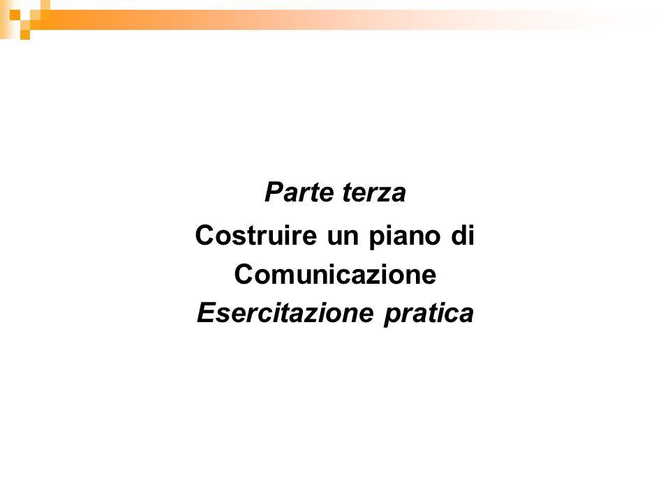Parte terza Costruire un piano di Comunicazione Esercitazione pratica