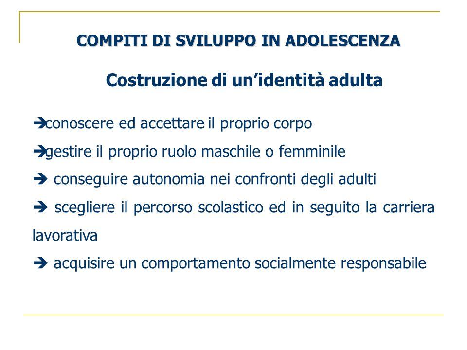 COMPITI DI SVILUPPO IN ADOLESCENZA conoscere ed accettare il proprio corpo gestire il proprio ruolo maschile o femminile conseguire autonomia nei conf