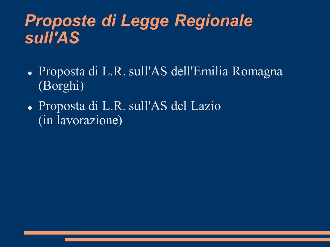 Proposte di Legge Regionale sull AS Proposta di L.R.