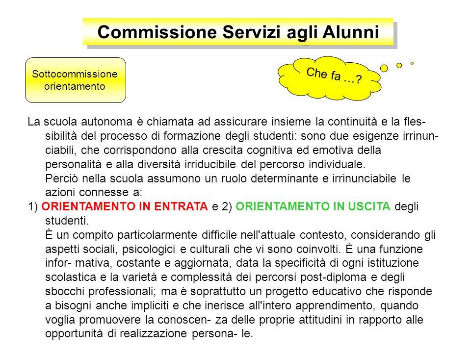 Commissione Servizi agli Alunni ORIENTAMENTO SCOLASTICO … in entrata coordinatrice Prof. … in uscita coordinatrice Prof.ssa M. Sassi Sottocommissione