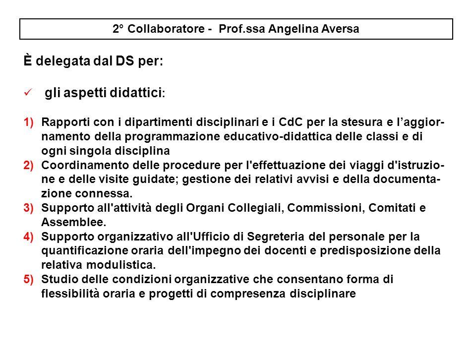 I collaboratori sono delegati e nominati dal DS, in ambito organizzativo e gestionale 1° Collaboratore Vicario - Prof. Vincenzo Pentangelo È delegato