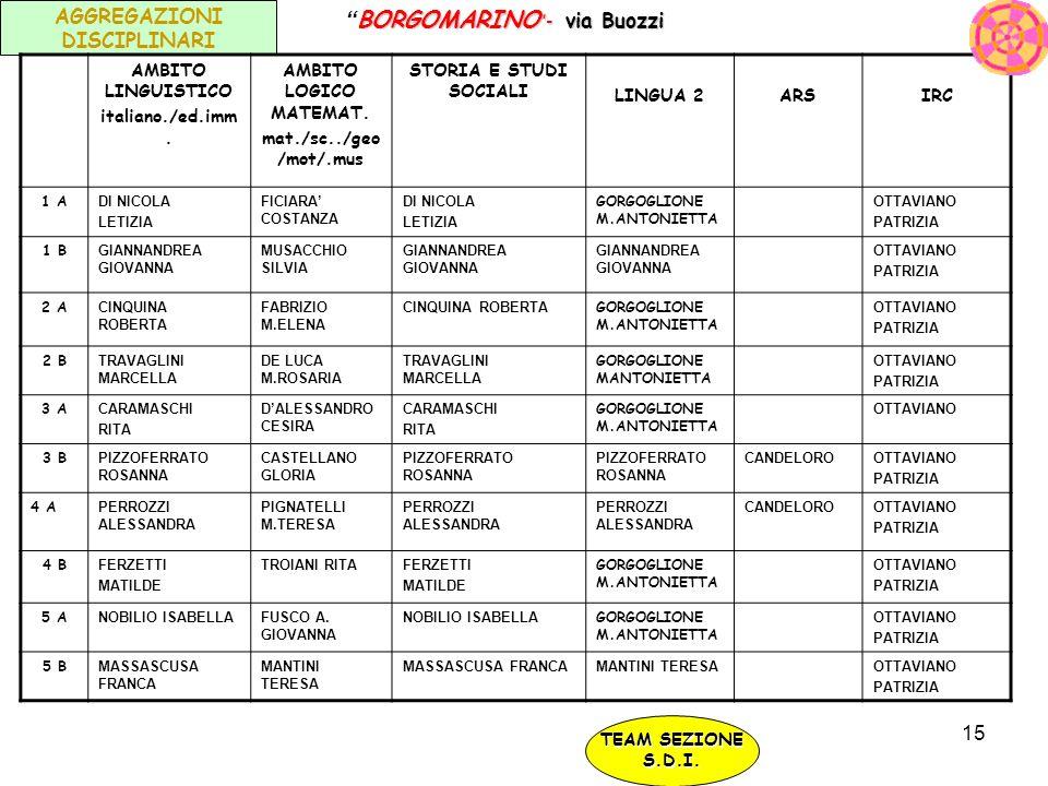 15 AGGREGAZIONI DISCIPLINARI AMBITO LINGUISTICO italiano./ed.imm. AMBITO LOGICO MATEMAT. mat./sc../geo /mot/.mus STORIA E STUDI SOCIALI LINGUA 2ARSIRC