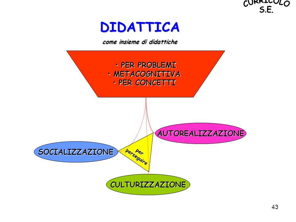 43 DIDATTICA come insieme di didattiche PER PROBLEMI PER PROBLEMI METACOGNITIVA METACOGNITIVA PER CONCETTI PER CONCETTI perperseguire SOCIALIZZAZIONE
