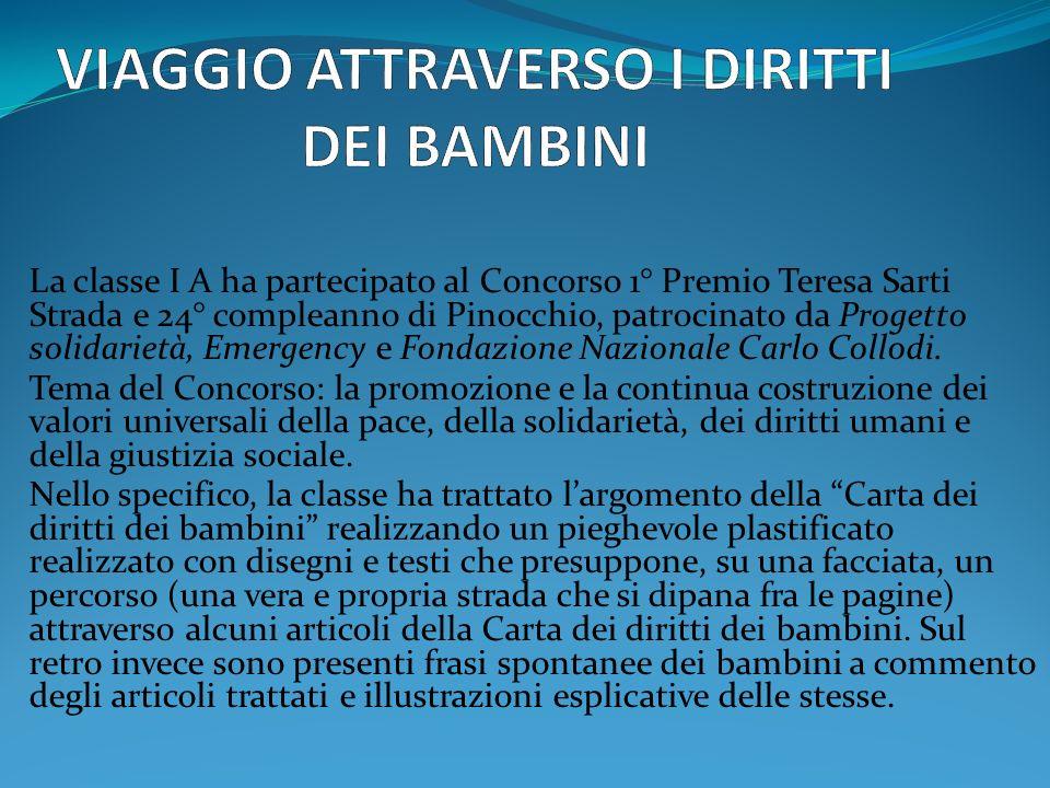 La classe I A ha partecipato al Concorso 1° Premio Teresa Sarti Strada e 24° compleanno di Pinocchio, patrocinato da Progetto solidarietà, Emergency e