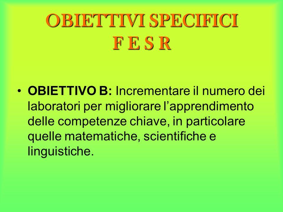 OBIETTIVI SPECIFICI F E S R OBIETTIVO B: Incrementare il numero dei laboratori per migliorare lapprendimento delle competenze chiave, in particolare q