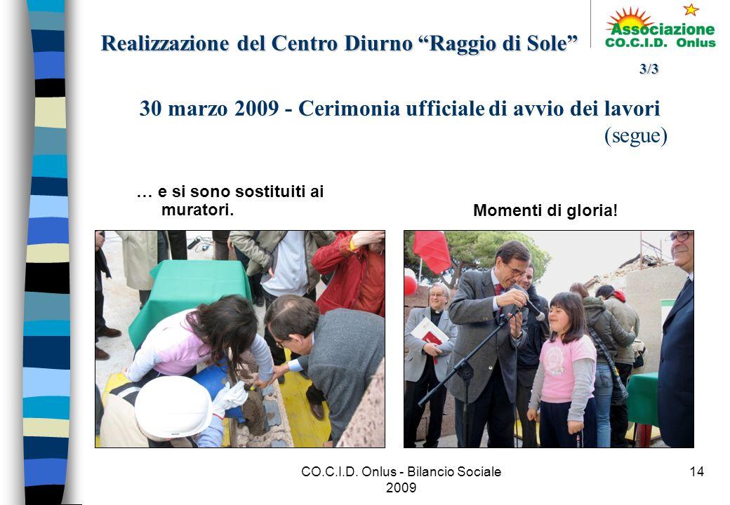 CO.C.I.D.Onlus - Bilancio Sociale 2009 14 … e si sono sostituiti ai muratori.