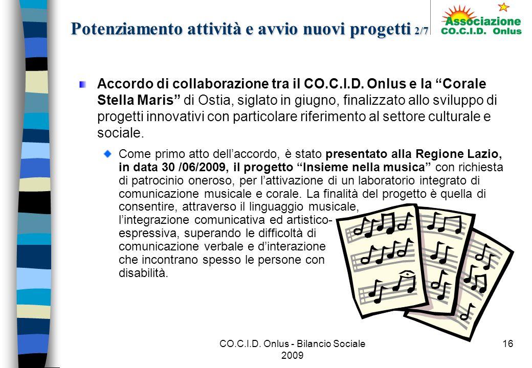 CO.C.I.D. Onlus - Bilancio Sociale 2009 16 Accordo di collaborazione tra il CO.C.I.D.