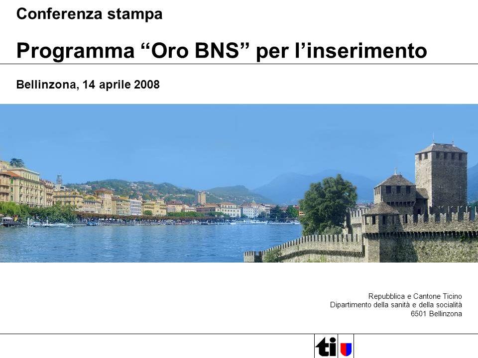 Repubblica e Cantone Ticino Dipartimento della sanità e della socialità 6501 Bellinzona Conferenza stampa Programma Oro BNS per linserimento Bellinzona, 14 aprile 2008