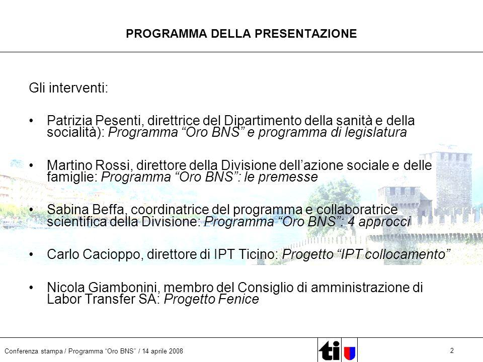 Conferenza stampa / Programma Oro BNS / 14 aprile 2008 2 PROGRAMMA DELLA PRESENTAZIONE Gli interventi: Patrizia Pesenti, direttrice del Dipartimento d