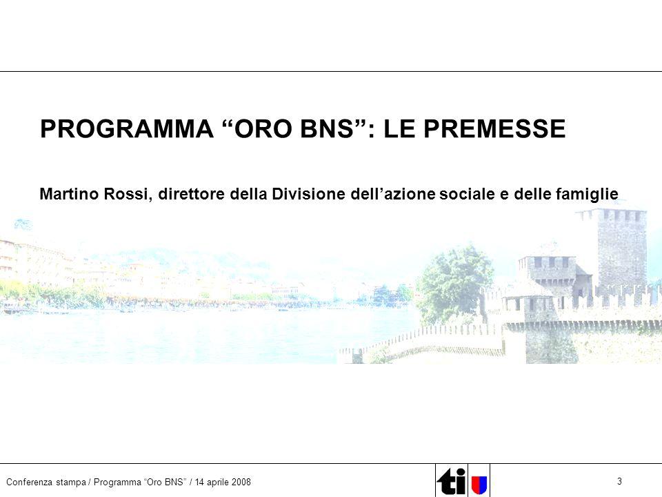 Conferenza stampa / Programma Oro BNS / 14 aprile 2008 3 PROGRAMMA ORO BNS: LE PREMESSE Martino Rossi, direttore della Divisione dellazione sociale e delle famiglie