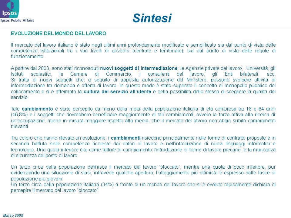 Marzo 2008 Sintesi EVOLUZIONE DEL MONDO DEL LAVORO Il mercato del lavoro italiano è stato negli ultimi anni profondamente modificato e semplificato sia dal punto di vista delle competenze istituzionali tra i vari livelli di governo (centrale e territoriale), sia dal punto di vista delle regole di funzionamento.