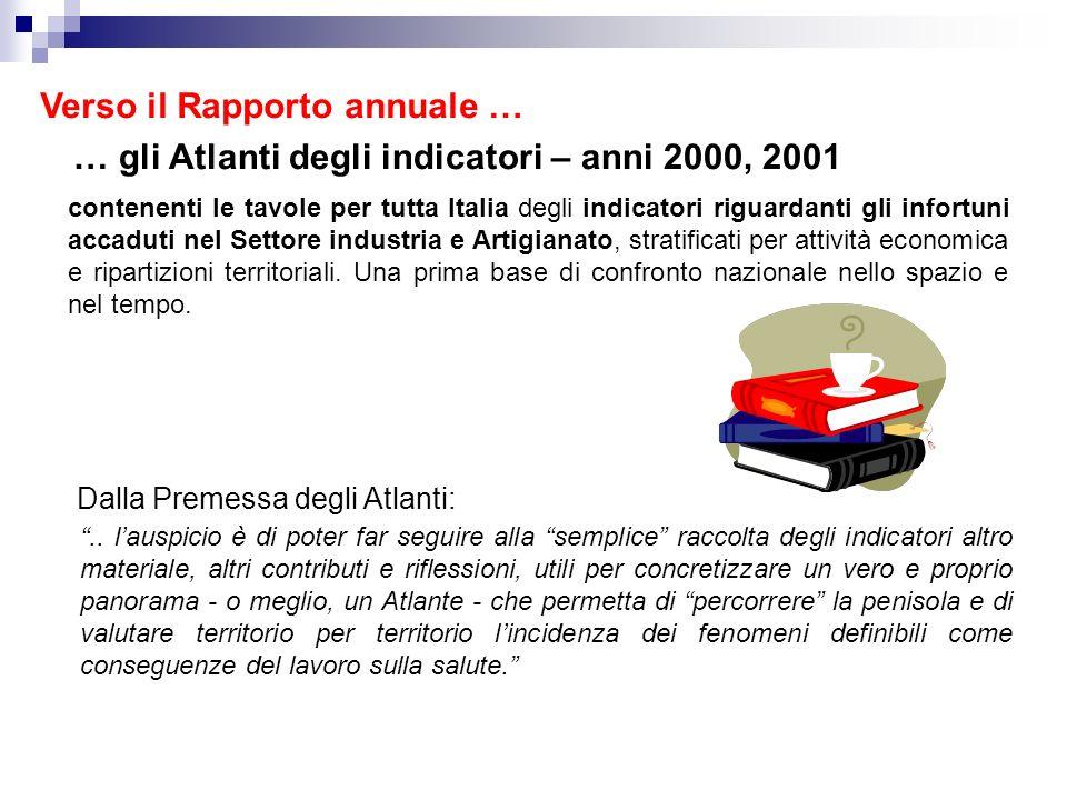… gli Atlanti degli indicatori – anni 2000, 2001 contenenti le tavole per tutta Italia degli indicatori riguardanti gli infortuni accaduti nel Settore industria e Artigianato, stratificati per attività economica e ripartizioni territoriali.