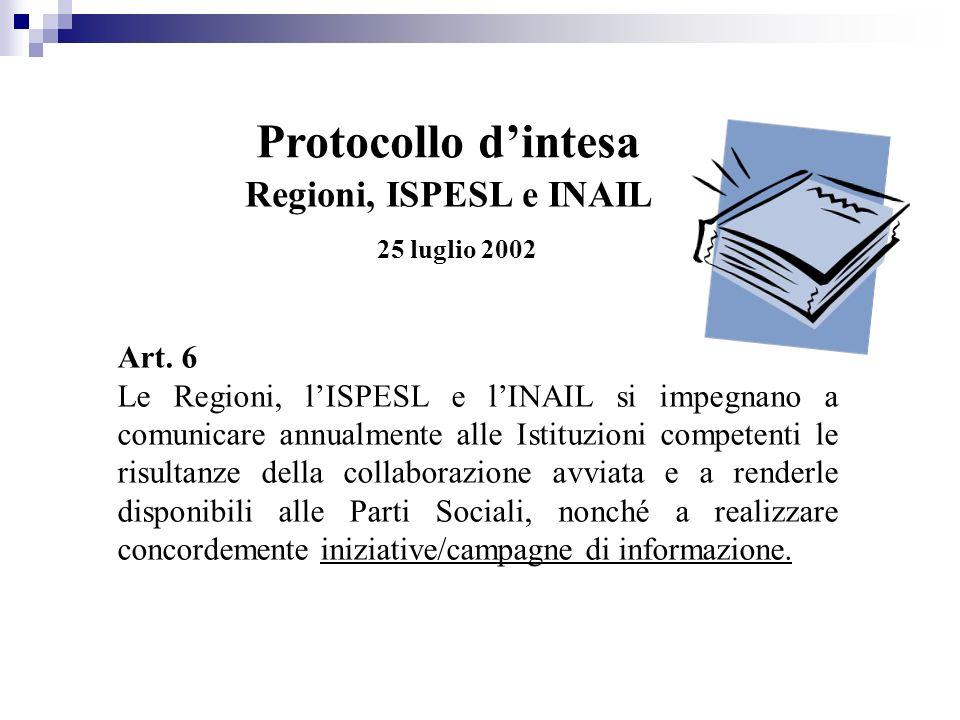 Art. 6 Le Regioni, lISPESL e lINAIL si impegnano a comunicare annualmente alle Istituzioni competenti le risultanze della collaborazione avviata e a r