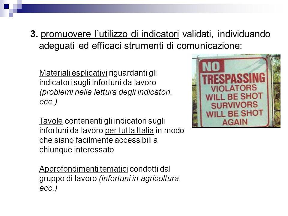 3. promuovere lutilizzo di indicatori validati, individuando adeguati ed efficaci strumenti di comunicazione: Materiali esplicativi riguardanti gli in