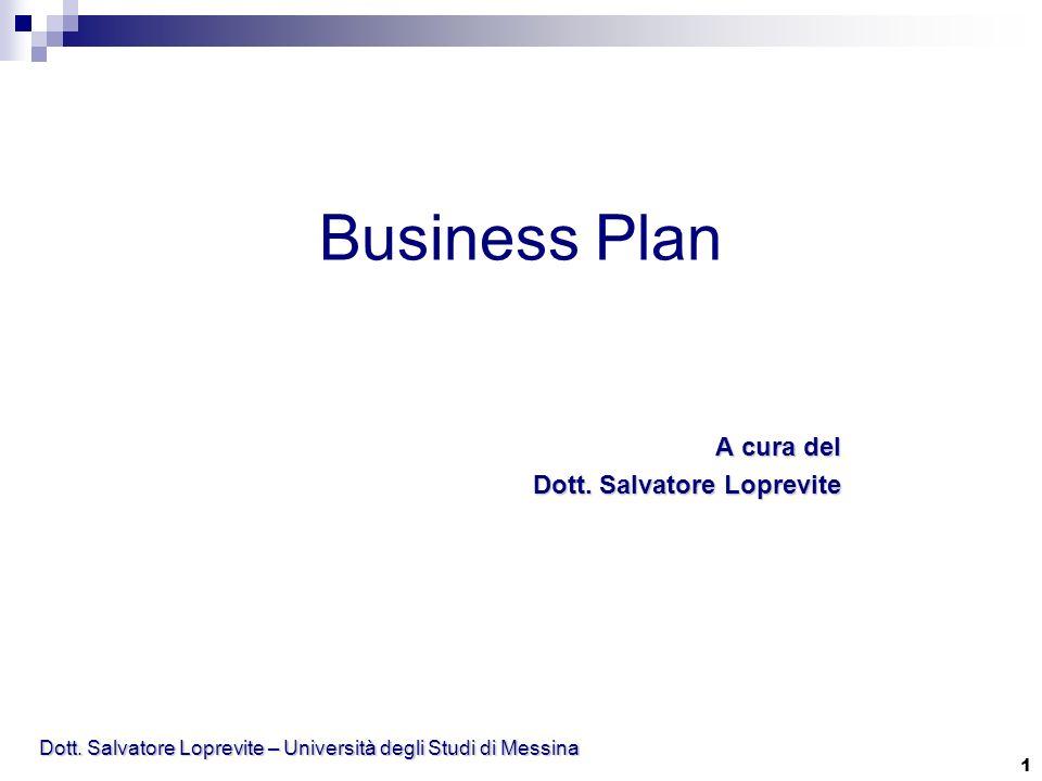 Dott. Salvatore Loprevite – Università degli Studi di Messina 1 Business Plan A cura del Dott. Salvatore Loprevite