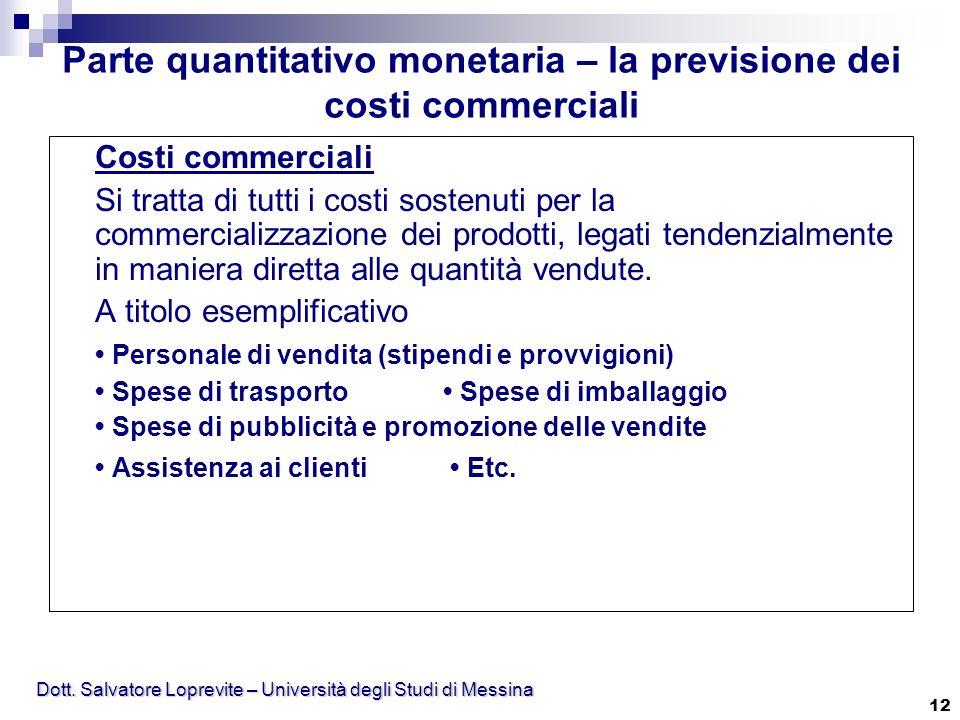 Dott. Salvatore Loprevite – Università degli Studi di Messina 12 Costi commerciali Si tratta di tutti i costi sostenuti per la commercializzazione dei