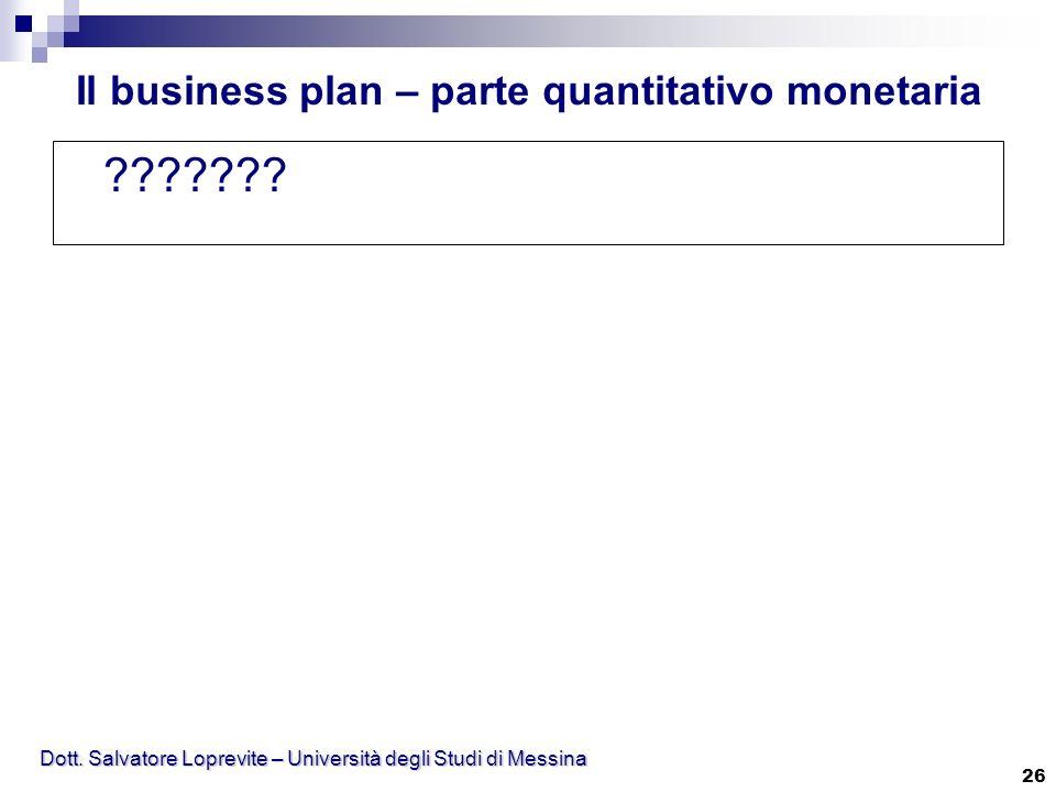 Dott. Salvatore Loprevite – Università degli Studi di Messina 26 ??????? Il business plan – parte quantitativo monetaria