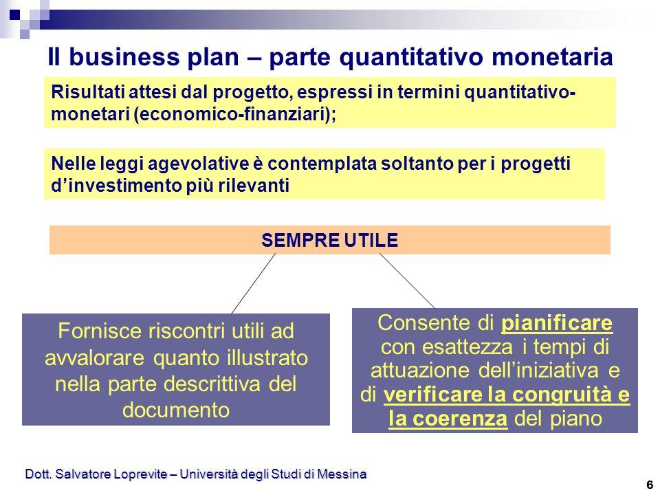 Dott. Salvatore Loprevite – Università degli Studi di Messina 6 Il business plan – parte quantitativo monetaria Risultati attesi dal progetto, espress