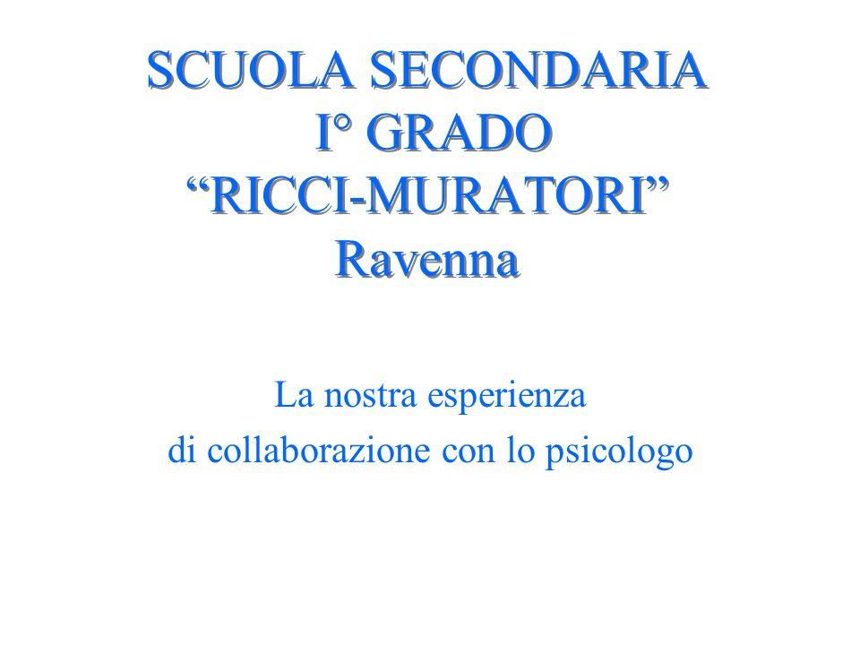 SCUOLA SECONDARIA I° GRADO RICCI-MURATORI Ravenna La nostra esperienza di collaborazione con lo psicologo