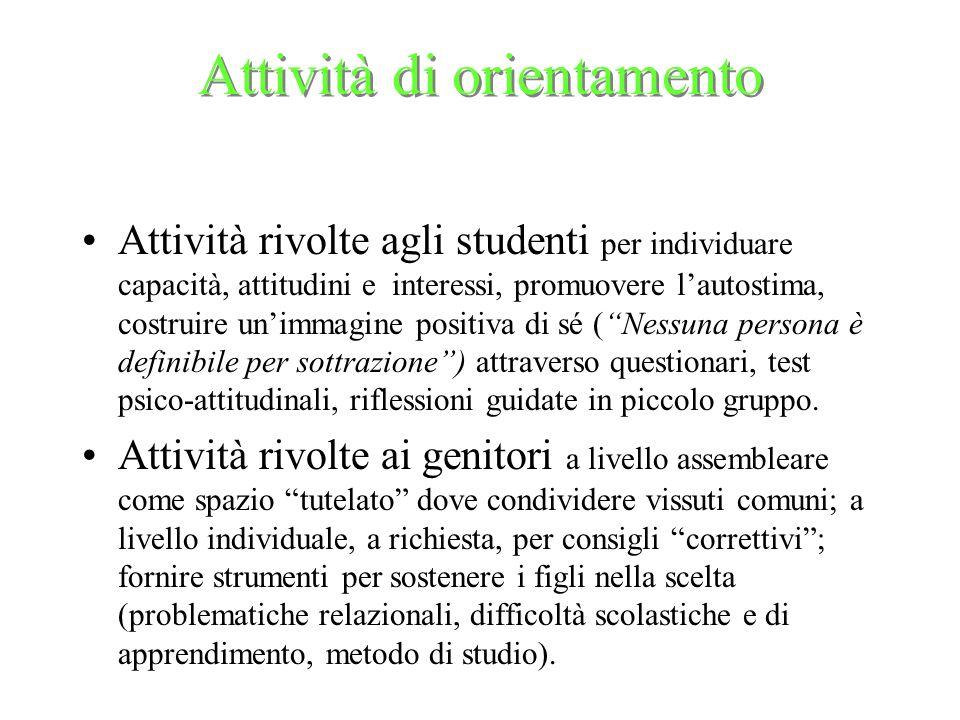 Attività di orientamento Attività rivolte agli studenti per individuare capacità, attitudini e interessi, promuovere lautostima, costruire unimmagine