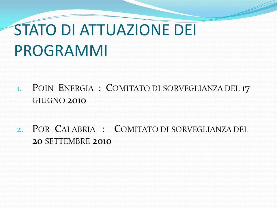 STATO DI ATTUAZIONE DEI PROGRAMMI 1.