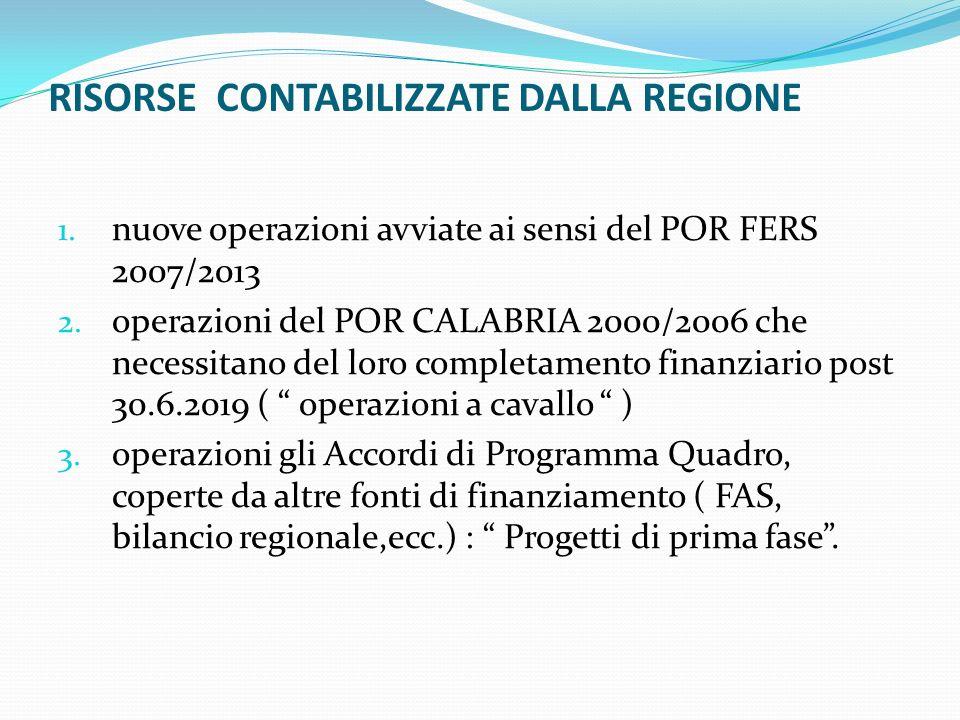 RISORSE CONTABILIZZATE DALLA REGIONE 1. nuove operazioni avviate ai sensi del POR FERS 2007/2013 2. operazioni del POR CALABRIA 2000/2006 che necessit